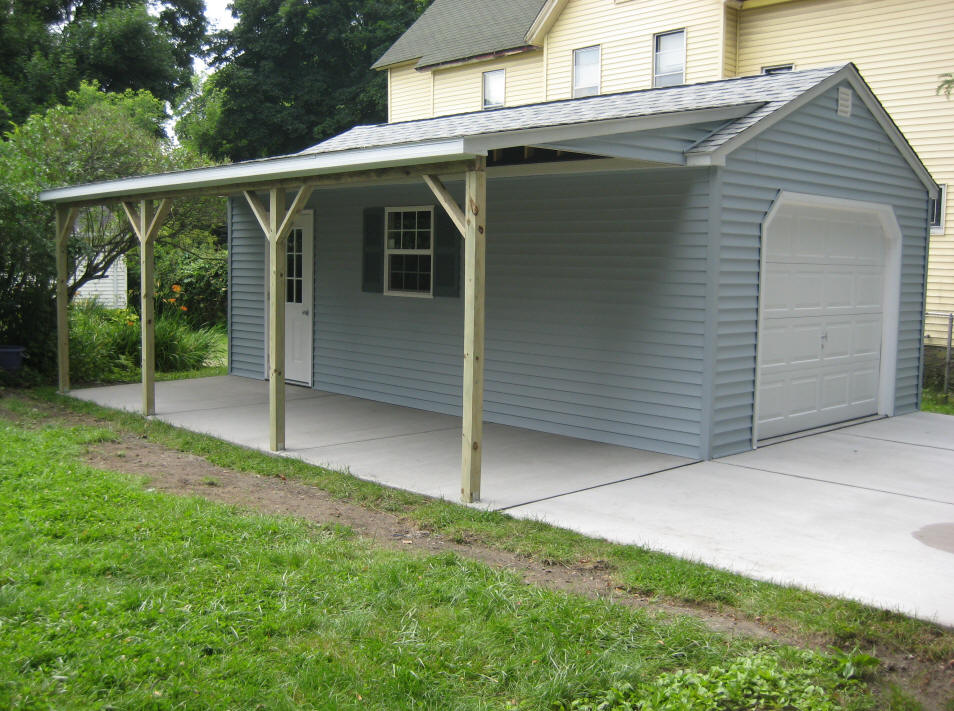 1 car detached garage for One car garage with carport